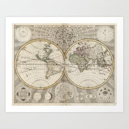 Vintage Map of The World (1687) Art Print