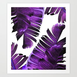 Banana Leaf - Tropical Leaf Print - Botanical Art - Modern Abstract - Violet, Lavender Art Print