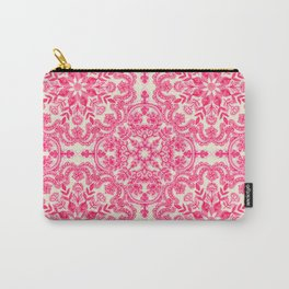 Hot Pink & Soft Cream Folk Art Pattern Carry-All Pouch
