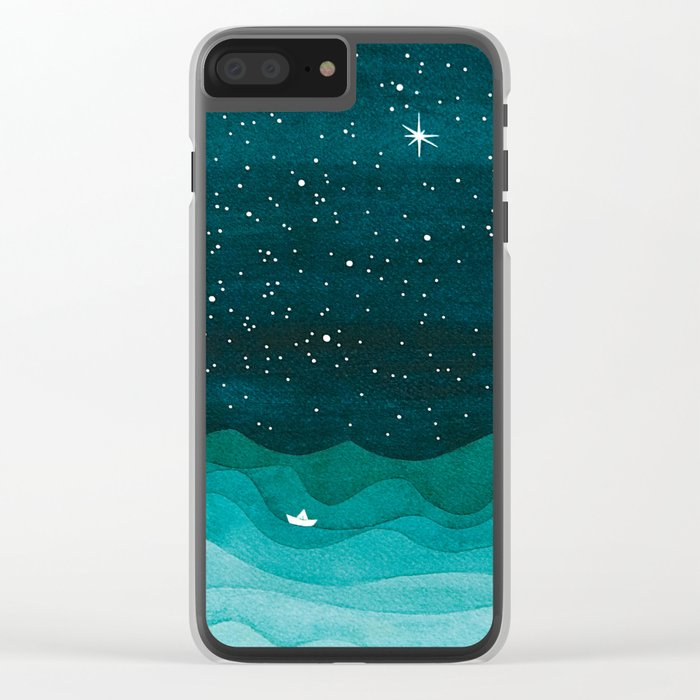 Starry Ocean, teal sailboat watercolor sea waves night Clear iPhone Case