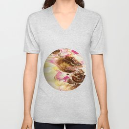 Chocolate with Pink and Yellow Marble Unisex V-Neck