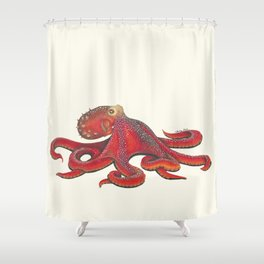 Red Octopus Shower Curtain