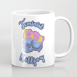 Feminist Killjoy Print with Flower Crown Skull Coffee Mug