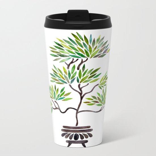 Bonsai Tree – Green Leaves Metal Travel Mug