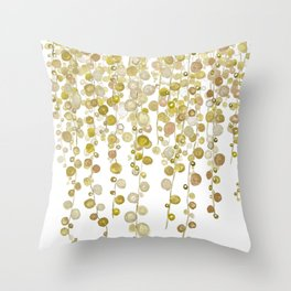 golden string of pearls watercolor 2 Throw Pillow