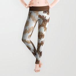 Modern white ikat pattern faux brass gold Leggings