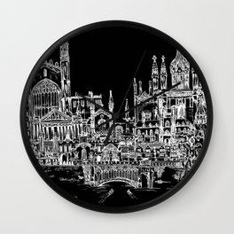 Cambridge, UK (BLACK) Wall Clock