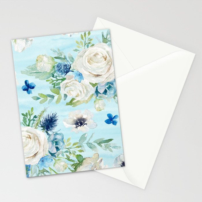 White roses blue flowers pattern Stationery Cards