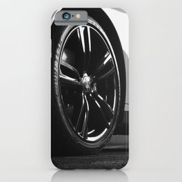 Black Rim Sports Car // White Paint Street Level B&W German Bavarian Motor Automobile Photograph iPhone Case