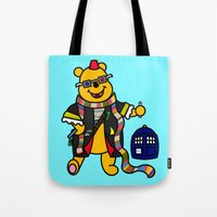 pooh Tote Bags featuring Doctor Pooh by Murphis the Scurpix