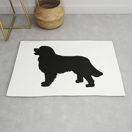 Bernese Mountain Dog silhouette black and white minimal dog gifts Rug
