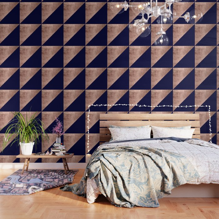Minimalist Rose Gold Navy Blue Color Block Geometric Wallpaper By