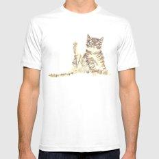 Cheeky Kitty Cat Mens Fitted Tee White MEDIUM