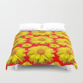 """YELLOW COREOPSIS """"TICK SEED"""" FLOWERS RED PATTERN Duvet Cover"""