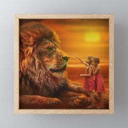 Lion twins   Lion et jumelles Framed Mini Art Print