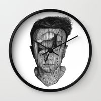 wood Wall Clocks featuring wood kid by David Cristobal