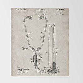 Stethoscope Patent - Doctor Art - Antique Throw Blanket