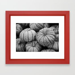Black and white pumpkins Framed Art Print