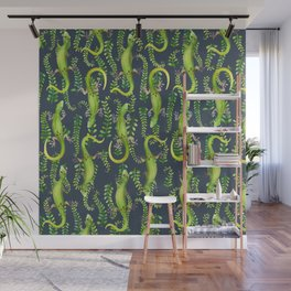 Leaves and geckos on dark Wall Mural
