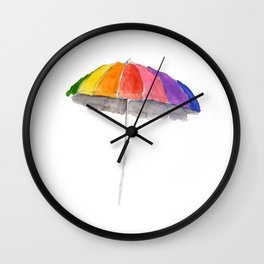 Rainbow Beach Umbrella Wall Clock