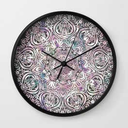 Dreams Mandala - Magical Purple on Gray Wall Clock