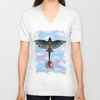 hiccup V-neck T-shirts featuring Hiccup and Toothless Flying from How to Train your Dragon 2 by Brietron Art
