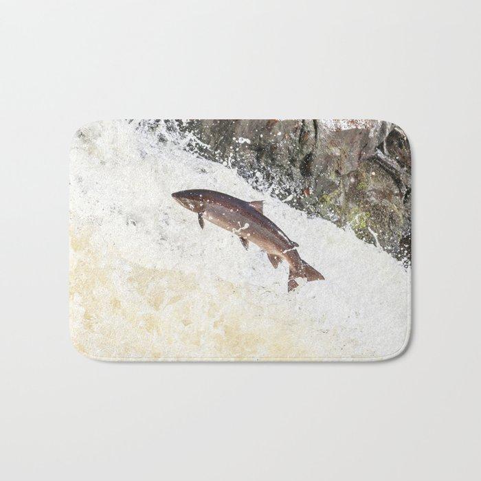 Leaping Atlantic salmon salmo salar Bath Mat
