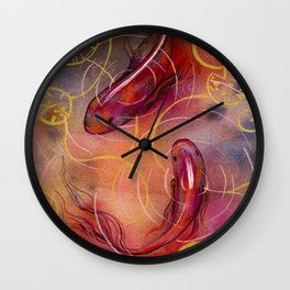 Koi fish with golden waterlily, watercolor artwork Wall Clock