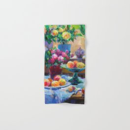 Still Life with Flowers and Fruits Hand & Bath Towel