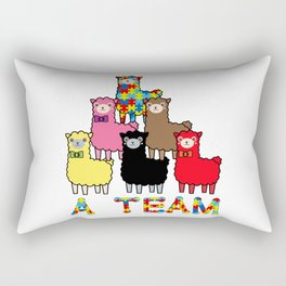 A  Team Autism Awareness, Advocacy & Support Cute Colorful Llamas Rectangular Pillow