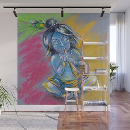 Little Krishna playing the flute Wall Mural