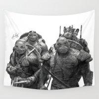 teenage mutant ninja turtles Wall Tapestries featuring Green Teenage Heroes  by Julio Lucas