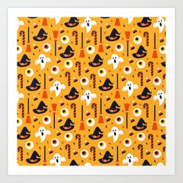 Happy halloween ghosts, brooms, eyeballs and witch hats pattern Art Print