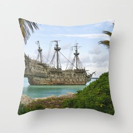 Pirate ship in the Caribbean Throw Pillow