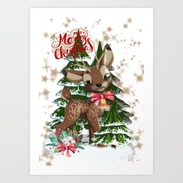 Fawn in the forest Art Print