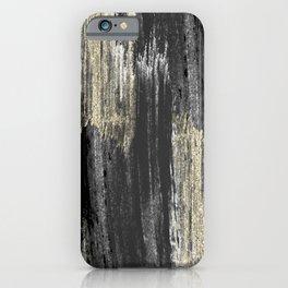 Abstract modern black gray gold glitter brushstrokes iPhone Case