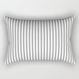 Ticking Narrow Striped Pattern in Dark Black and White Rectangular Pillow