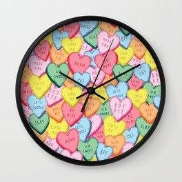 Candy Hearts Multicolour Wall Clock