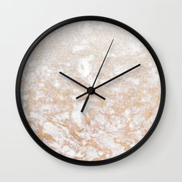Elegant white faux glitter stylish marble pattern Wall Clock
