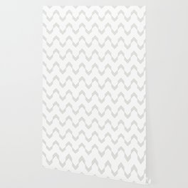 Simply Deconstructed Chevron Retro Gray on White Wallpaper