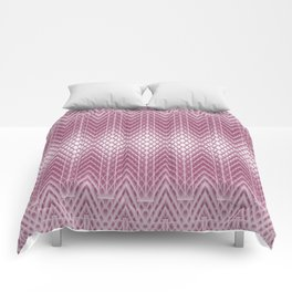 Icy Pink Frosted Geometric Relief Design Comforters