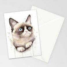 Grumpy Watercolor Cat Animals Meme Geek Art Stationery Cards