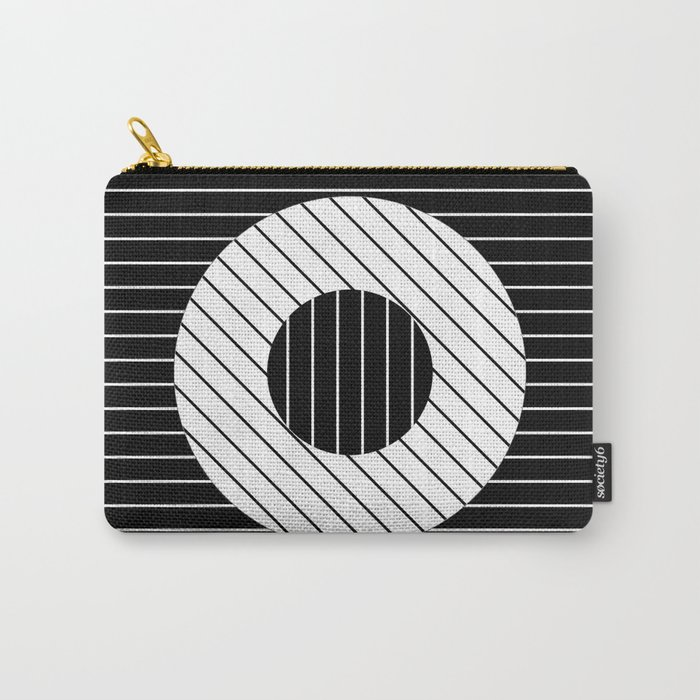 Turn (Minimalistic, black and white, geometric design) Carry-All Pouch