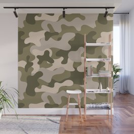 Green Gray Camouflage Pattern Wall Mural