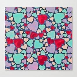 Sweet hearts mosaic pattern Canvas Print