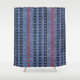 Digital Graphic Pattern Blue Denim Shower Curtain