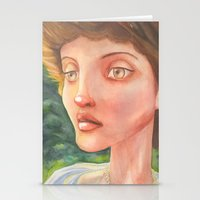 sylvia plath Stationery Cards featuring Sylvia by Nopo Watercolor Art
