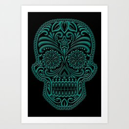 Intricate Teal Blue and Black Day of the Dead Sugar Skull Art Print
