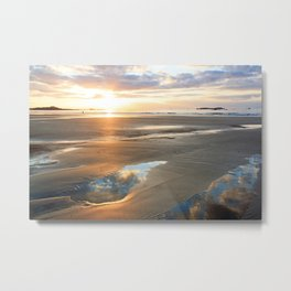 Romantic sunset on the beach of St Malo (Brittany, France). Metal Print