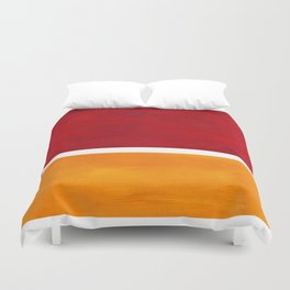 Burnt Red Yellow Ochre Mid Century Modern Abstract Minimalist Rothko Color Field Squares Duvet Cover